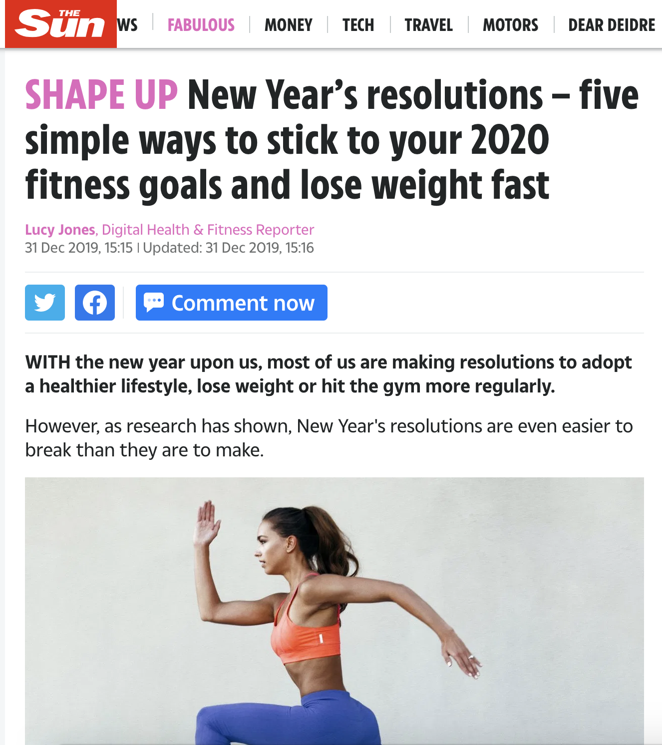 The Sun – New Years Resolutions